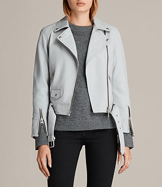Womens Cole Leather Biker Jacket (Sky Blue) - product_image_alt_text_1