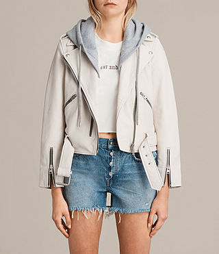 Womens Hooded Balfern Biker Jacket (White) - product_image_alt_text_1
