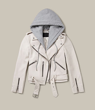 Womens Hooded Balfern Biker Jacket (White) - product_image_alt_text_2