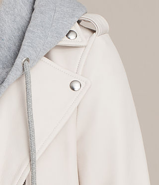 Womens Hooded Balfern Biker Jacket (White) - product_image_alt_text_7