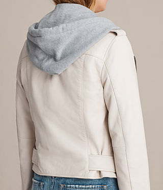 Womens Hooded Balfern Biker Jacket (White) - product_image_alt_text_8
