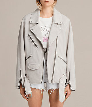 Womens Oversized Suede Biker Jacket (ICE GREY) - product_image_alt_text_1