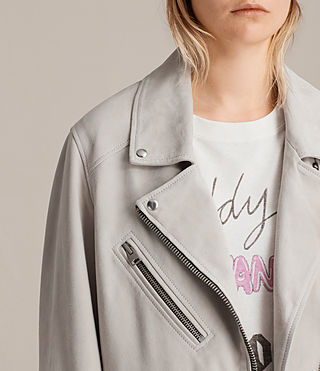 Womens Oversized Suede Biker Jacket (ICE GREY) - product_image_alt_text_2