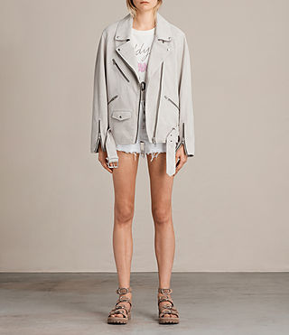 Womens Oversized Suede Biker Jacket (ICE GREY) - product_image_alt_text_3