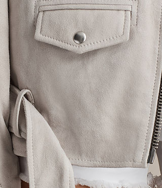 Womens Oversized Suede Biker Jacket (ICE GREY) - product_image_alt_text_5