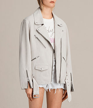 Womens Oversized Suede Biker Jacket (ICE GREY) - product_image_alt_text_6
