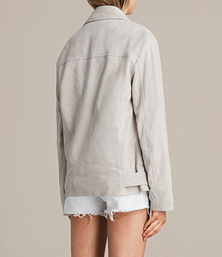 Womens Oversized Suede Biker Jacket (ICE GREY) - product_image_alt_text_7