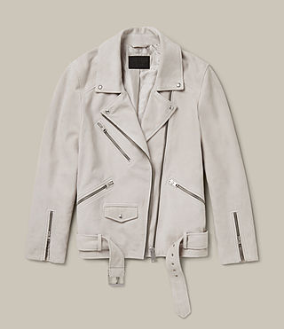 Womens Oversized Suede Biker Jacket (ICE GREY) - product_image_alt_text_8