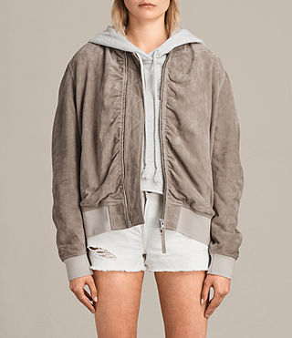 Womens Ari Suede Bomber Jacket (Light Khaki) - product_image_alt_text_1