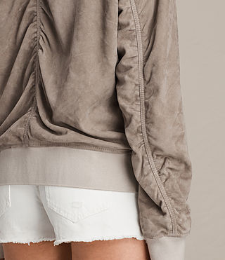 Womens Ari Suede Bomber Jacket (Light Khaki) - product_image_alt_text_2
