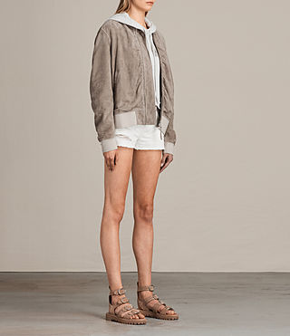 Womens Ari Suede Bomber Jacket (Light Khaki) - product_image_alt_text_4