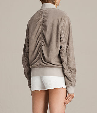 Womens Ari Suede Bomber Jacket (Light Khaki) - product_image_alt_text_5