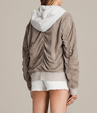 Womens Ari Suede Bomber Jacket (Light Khaki) - product_image_alt_text_7
