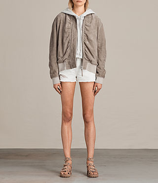 Womens Ari Suede Bomber Jacket (Light Khaki) - product_image_alt_text_8