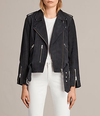 Womens Suede Balfern Biker Jacket (Ink Blue) - Image 1