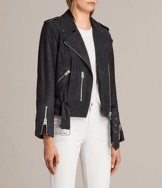 Womens Suede Balfern Biker Jacket (Ink Blue) - Image 3