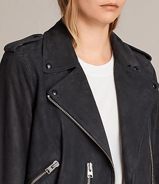 Womens Suede Balfern Biker Jacket (Ink Blue) - Image 4