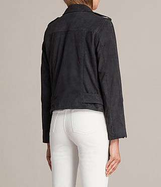 Womens Suede Balfern Biker Jacket (Ink Blue) - Image 8