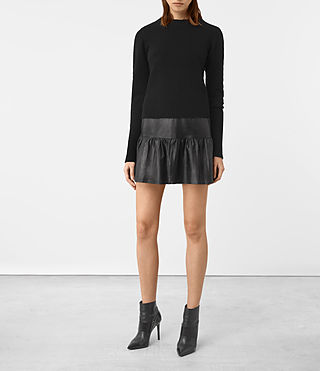 Femmes Haslam Leather Skirt (Black)