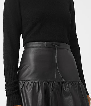 Womens Haslam Leather Skirt (Black) - product_image_alt_text_3