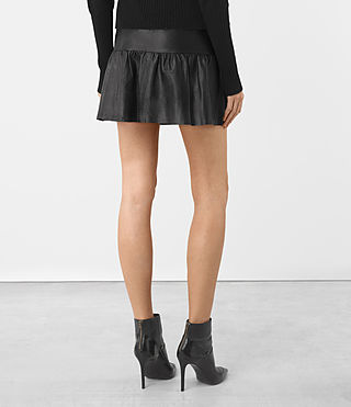 Womens Haslam Leather Skirt (Black) - product_image_alt_text_5