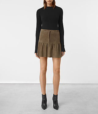 Womens Haslam Suede Skirt (Khaki Green)