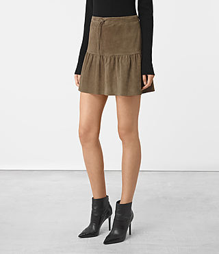 Donne Haslam Suede Skirt (Khaki Green) - product_image_alt_text_2