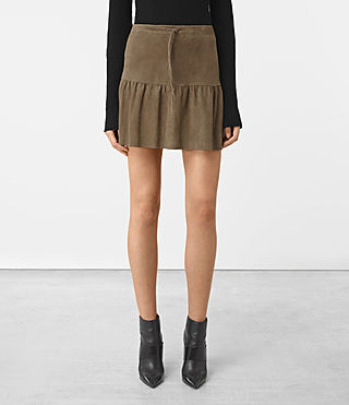 Women's Haslam Suede Skirt (Khaki Green) - product_image_alt_text_3