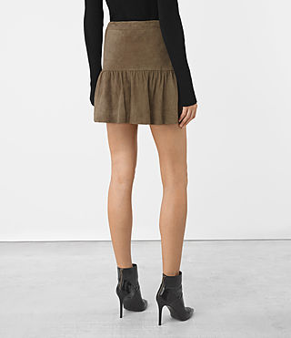 Women's Haslam Suede Skirt (Khaki Green) - product_image_alt_text_4