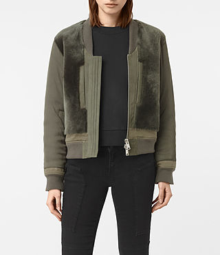 Mujer Finch Shearling Puffa Bomber Jacket (Khaki Green) - product_image_alt_text_1