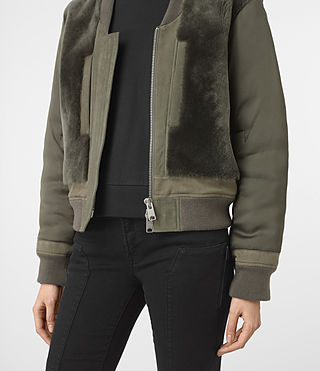 Mujer Finch Shearling Puffa Bomber Jacket (Khaki Green) - product_image_alt_text_2