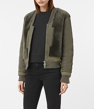 Mujer Finch Shearling Puffa Bomber Jacket (Khaki Green) - product_image_alt_text_3
