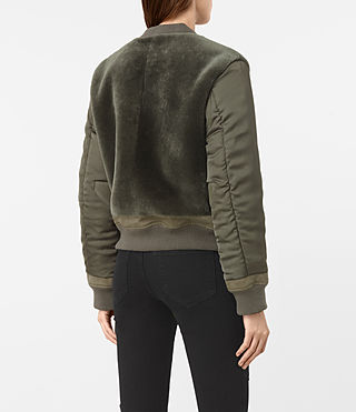 Mujer Finch Shearling Puffa Bomber Jacket (Khaki Green) - product_image_alt_text_4