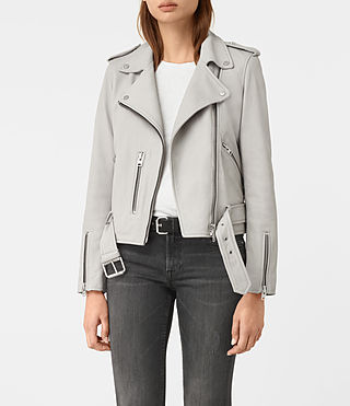 Damen Balfern Leather Biker Jacket (Light Grey)