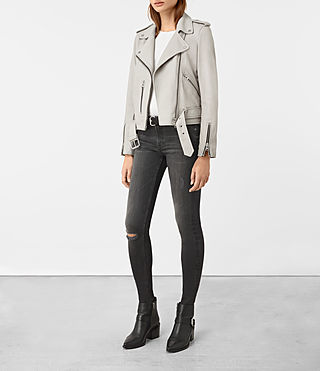 Womens Balfern Leather Biker Jacket (Light Grey) - product_image_alt_text_2