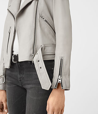 Womens Balfern Leather Biker Jacket (Light Grey) - product_image_alt_text_3