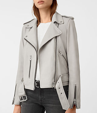 Womens Balfern Leather Biker Jacket (Light Grey) - product_image_alt_text_4