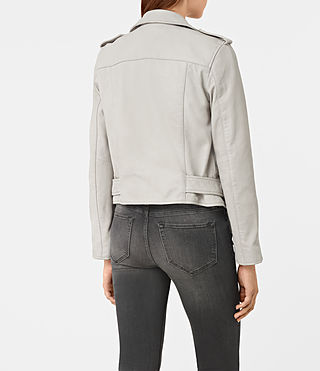 Womens Balfern Leather Biker Jacket (Light Grey) - product_image_alt_text_5
