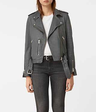 Mujer Balfern Leather Biker Jacket (Green)