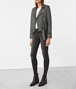 Womens Balfern Leather Biker Jacket (Green) - product_image_alt_text_2
