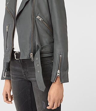 Mujer Balfern Leather Biker Jacket (Green) - product_image_alt_text_3