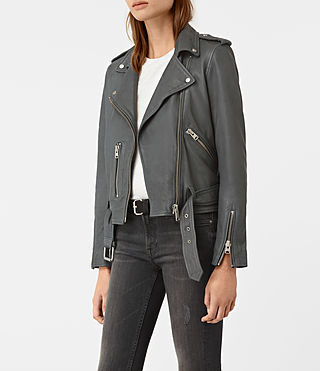 Mujer Balfern Leather Biker Jacket (Green) - product_image_alt_text_4