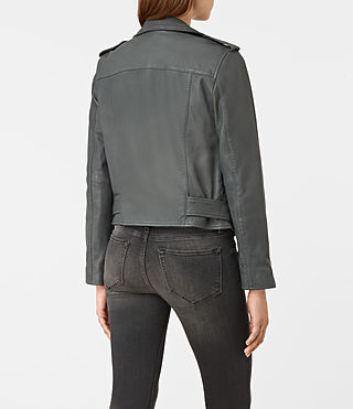 Womens Balfern Leather Biker Jacket (Green) - product_image_alt_text_5