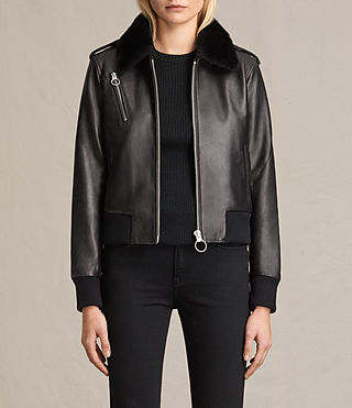Womens Carpen Leather Bomber Jacket (Black/Black)
