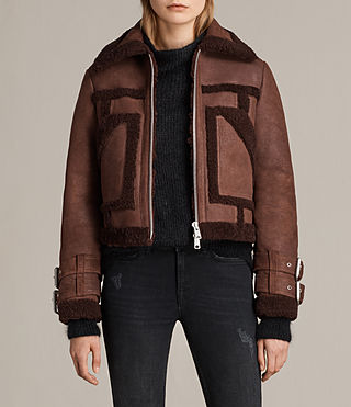 Donne Asher Shearling Biker Jacket (Red)