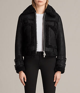 Womens Asher Shearling Biker Jacket (Black)