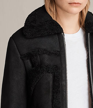 Womens Asher Shearling Biker Jacket (Black) - product_image_alt_text_2