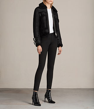 Mujer Asher Shearling Bike (Black) - product_image_alt_text_3