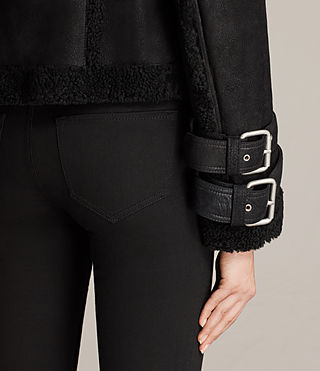 Womens Asher Shearling Biker Jacket (Black) - product_image_alt_text_5