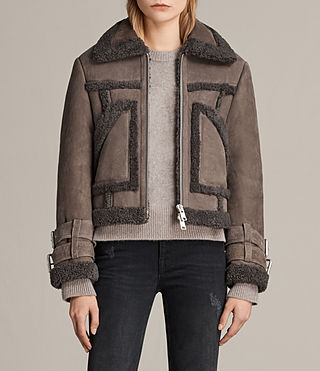 Womens Asher Shearling Biker Jacket (Grey)